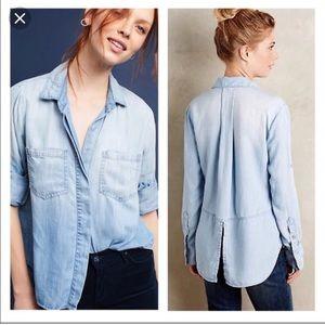 Cloth & Stone Split Back Button Down Shirt Sz Sm